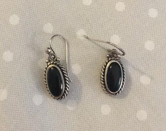Black & Silver Oval Earrings