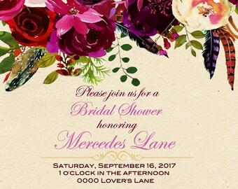 Square Floral Wedding Shower Invitation Digital Download