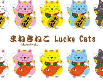 10 Lucky Cats (maneki neko) Clipart set (instant download) / eps / png