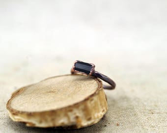 Black Tourmaline Ring, Raw Crystal ring, Electroformed copper ring, US 4, 14.75 DE black stone ring