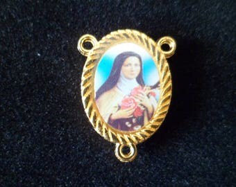 Connector Rosary Double-sided Saint Therese of Lisieux 20 x 15 mm