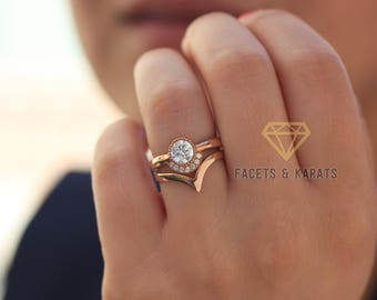 18k Rose Gold Bohemian Engagement Ring With Matching Nesting V Shaped  Wedding Band Bridal Set Diamond