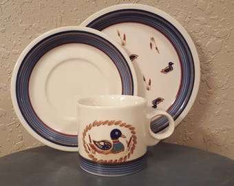 Set/4 vintage Epoch American Decoy cups, saucers & dessert plates (12 pcs). Awesome vintage plates with duck pond scene. Cabin/country decor