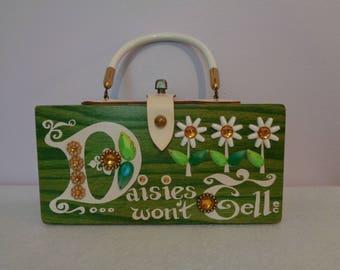 Enid Collins Original Box Bag, Vintage Wooden Purse
