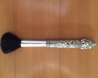 Art Nouveau Style Silver Plated Make Up Brush and Repousse Handle // Gift for her // Gift for Mom // Gift for Bridesmaid