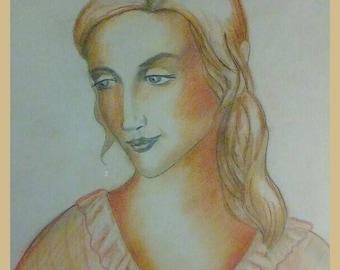 Young lady, Inspired by Greek mythology. Pastel