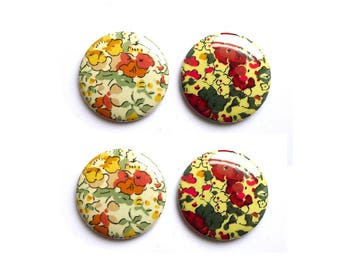 Badges or magnets 37 mm liberty fabric Claire Aude OPTION 2 colors