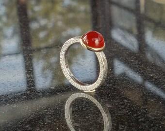 Silver ring, gold 18 K, Carnelian, women, stackable ring, engagement ring ring ring ring, unique, recycling, gemstone ring, ring