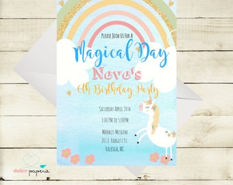 Unicorn and Rainbows Magical Birthday Invitation