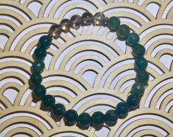 Moss Agate + Smoky Quartz 8mm bracelet