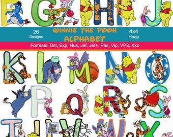 26 Disney Winnie the Pooh Alphabet Machine Embroidery Designs, 4 Inch Hoop, Disney Embroidery, Eeyore, Tigger, Piglet, Instant Download
