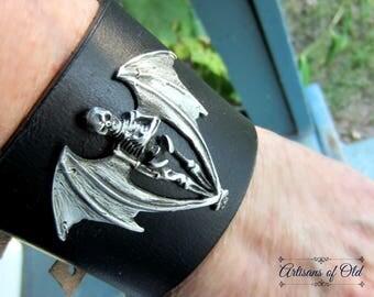 Gothic Winged Skeleton Cuff, Black Leather Cuff, Leather Bracelet, Bat Wing Cuff, Leather Bracer
