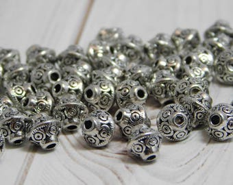 50pcs - 6mm Silver Beads - Silver Spacers - Silver Spacer Beads - Antique Silver - Silver Bicone Beads - 6mm Spacer Beads - (B475)