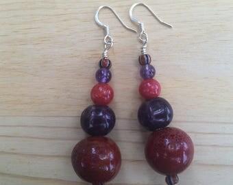 Red & purple beaded dangle earrings
