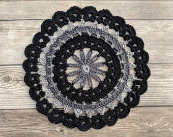 Dainty Daisy Mandala, Daisy Mandala, Crochet Mandala, Mandala, Crochet Doily, Doily, Black Mandala, Black Doily
