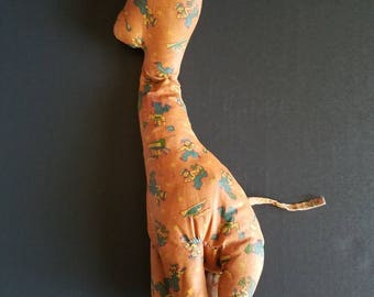 Vintage oilcloth giraffe, stuffed giraffe, vintage toy, oilcloth toy, stuffed oilcloth, vintage giraffe, nursery decor, stuffed animal
