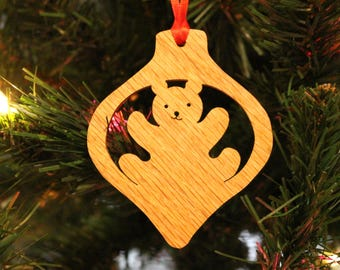 Ornament - Teddy Bear - Oak