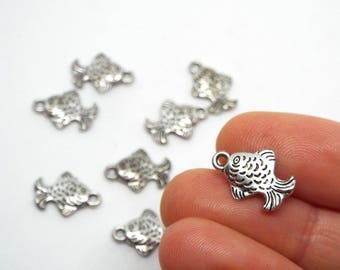 Small Fish Silver Coloured Charm 17mm x 15mm