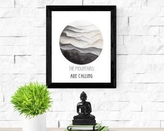 The Mountains Are Calling | Wanderlust Traveler Art | Mountain Painting | Gift for Him | Watercolor Mountain Print | Circle Art Print