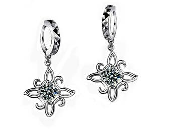 "Earrings ""Rose with Silver Star"""