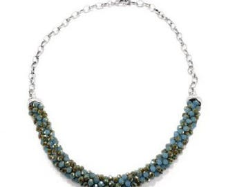 Blue grey silver necklace