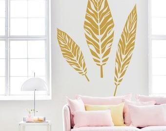 Gold Leaf Wall Decals-Gold Vinyl Wall Decal-Nursery Wall Decals-Kids Room Decal-Leaf Wall Stickers-Woodland Nursery Wall Decor-Pattern decor