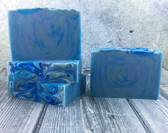 PRE-ORDER Fifty Shades of Blue Handmade Soap - Cold Process Soap, Bar Soap, Handcrafted Soap, Artisan Soap, Silk Soap