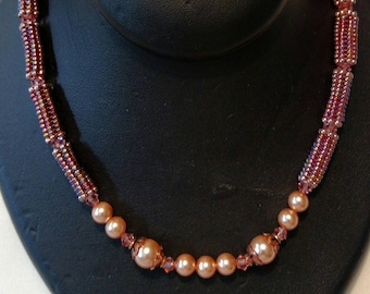 Handmade Necklace with Tubular Beads and Pearls