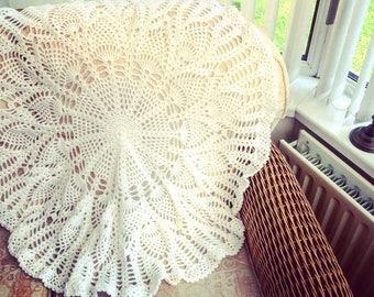 White Crochet Christening Baby Blanket With Subtle Sparkle