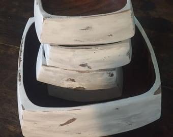 Farmhouse Bowls, Decorative Bowls, Chalk Paint Bowl, Distressed Bowls, Fruit Bowl, Wooden Bowl, Painted Wooden Bowls, White Wooden Bowls