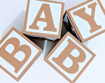 Kraft BABY Blocks for Baby Shower Decoration - Table Centrepiece - Nursery Room Decor - Rustic / Vintage