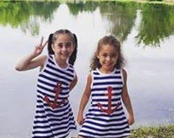 Sleeveless Navy Stripes Anchor Dress, Girls Clothing, Girls Dress, Girls Nautical, Girls Anchor, Summer Dress, Girls Navy Dress, Toddler