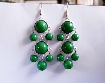 Green Stud Earrings with Pearl pendants