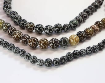 Dyed Jade, Black Gemstone, Round Bead, Carved, Large Round Bead, Tan Beads, Fancy Beads,  DIY, BS306