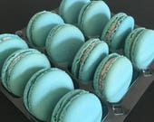 Baby Blue gift, French macarons, Baby shower favours, Boy Birthday, First birthday, It's a boy, Wedding favours, Gluten free, dessert table,