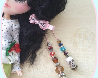 Blythe doll new handmade pull strings with facetted glass beads and skulls