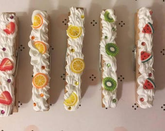 Fruity Set of 5 Decoden Clothespin Magnets
