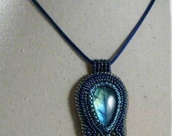 Embroidered Labradorite necklace