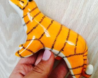 Ceramic animal, ceramic tiger, clay tiger, ceramics, animal figurine, animal totem, tiger totem, ceramic figurine, clay figurine, tiger art