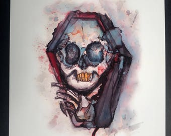 Coffin skull painting  8.5x11in PRINT