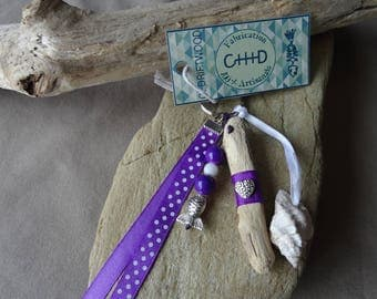 Door keys or jewelry bag in purple shell and Driftwood