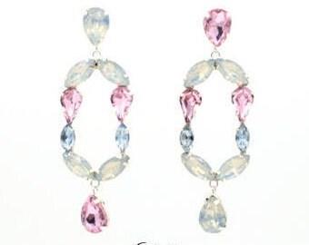 White, pink & light blue big dangle chandelier earrings, silver-plated, anti-allergic, designer handmade