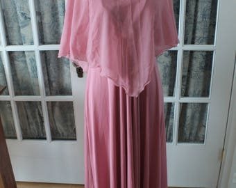 Late 1960's Pink Evening Gown with Sheer Cape