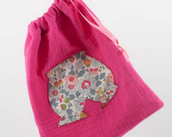 Liberty pouch storage for baby clothes - double gauze and applied