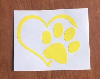Love Pawprint Vinyl Sticker