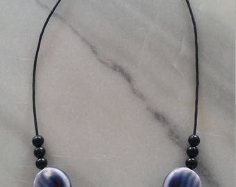 Midnight Purple - Porcelain & Acrylic Bead Black Leather Necklace for Women