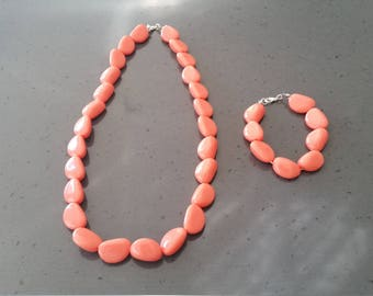 Orange Nugget Bead Necklace and Bracelet Set for Women