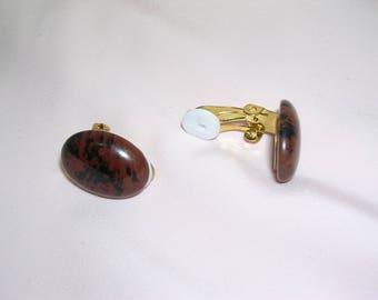 small clip on earrings in stone of Mahogany Obsidian