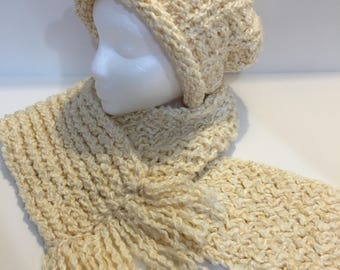 Ladies Cream Colored Loom Knit Hat and Scarf