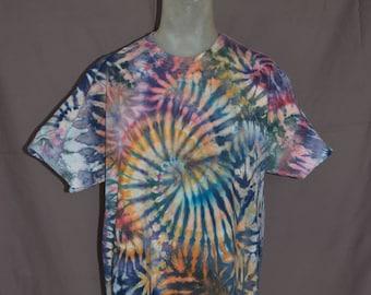 Handmade Spiral Ice Dye T-Shirt: X-Large